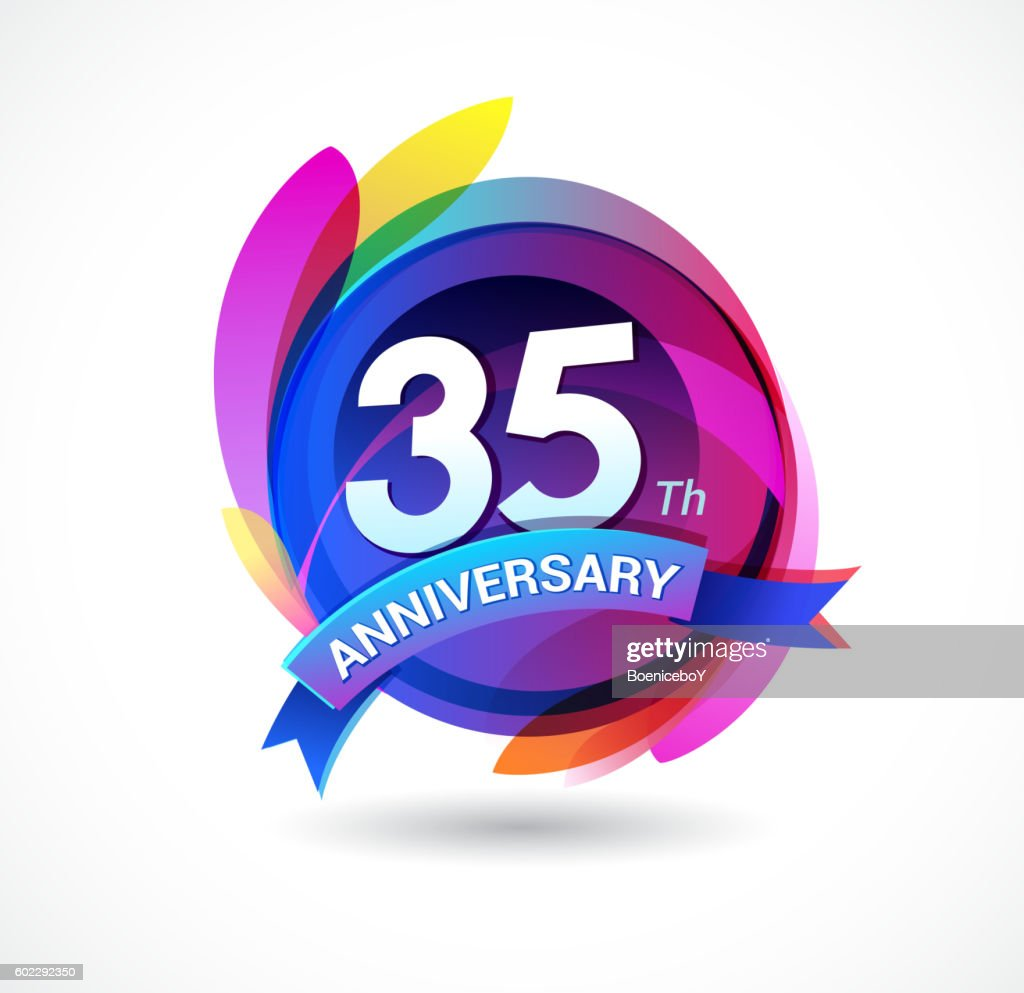 35th anniversary - abstract background with icons and elements