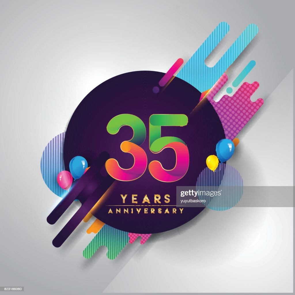 35th Years Anniversary Symbol With Colorful Abstract Background