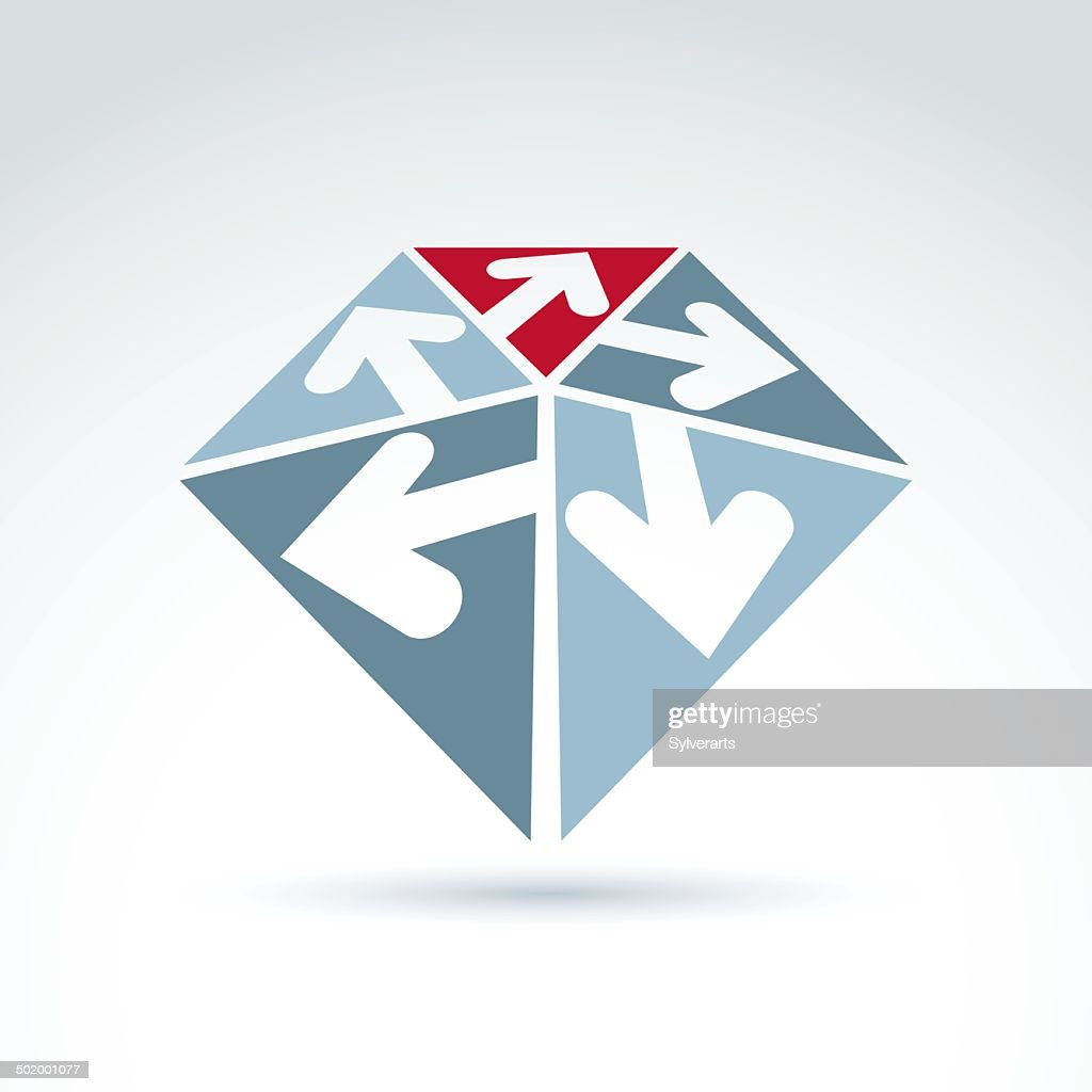 3d abstract emblem with five multidirectional arrows