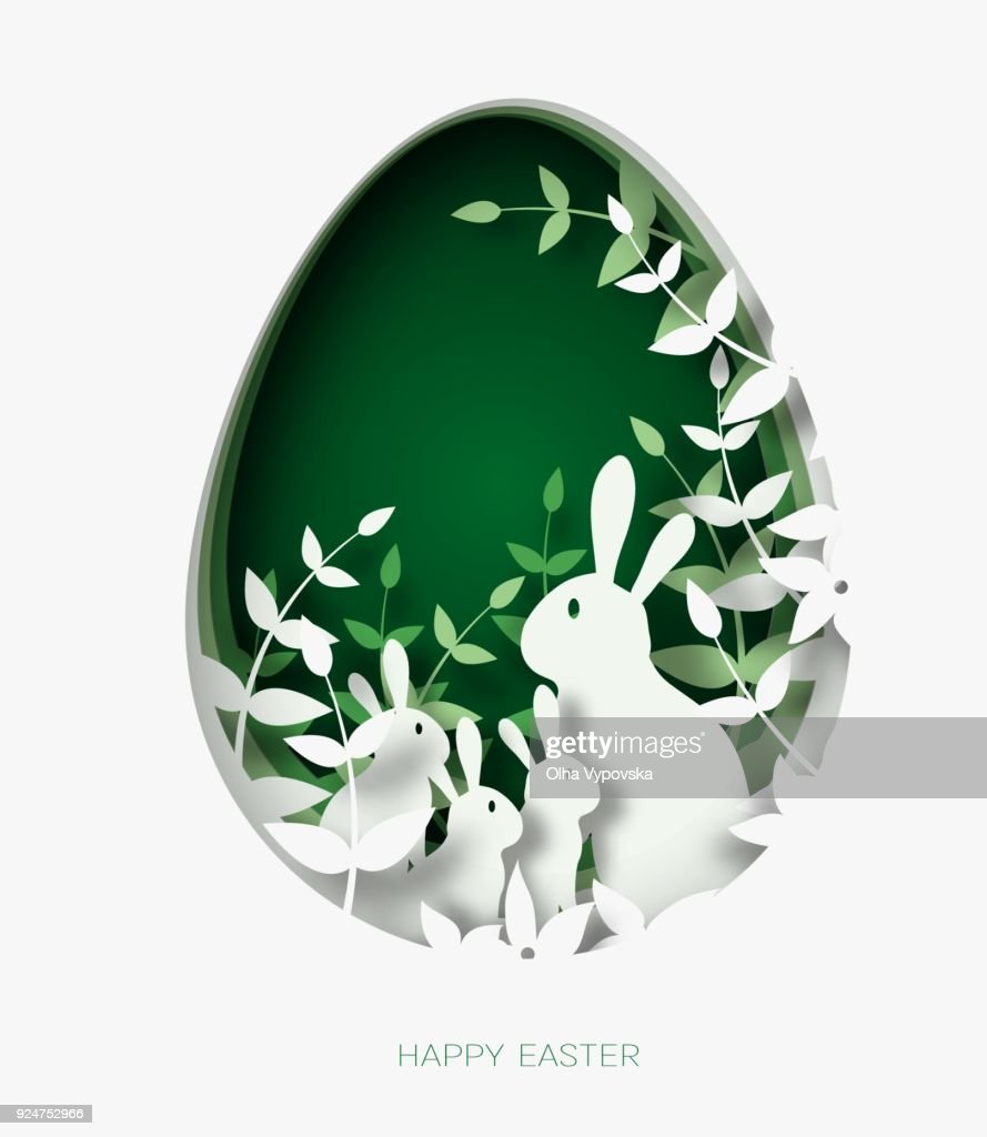 3d abstract paper cut illustration of colorful paper art easter rabbit family, grass, flowers and green egg shape.