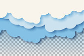 3d abstract paper cut illustration of pastel blue sky and clouds. Vector colorful template.