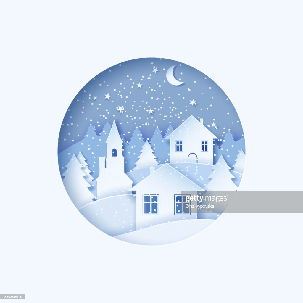 3d Abstract Pastel Paper Cut Illustration Of Winter Town
