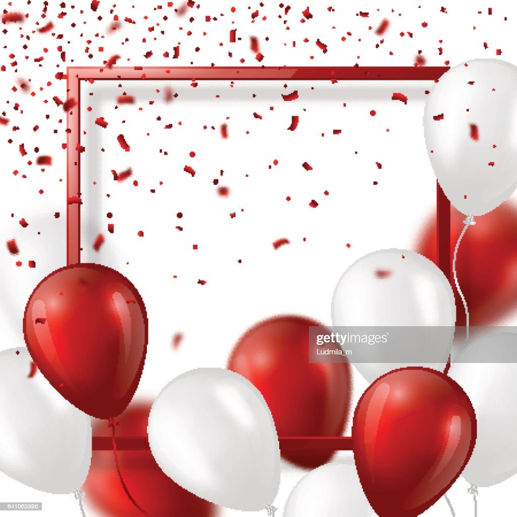 3d balloons with confetti and frame.