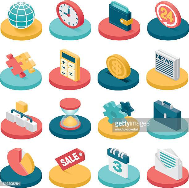 3 d business-symbole - flach stock-grafiken, -clipart, -cartoons und -symbole