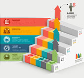 3d business staircase diagram template.