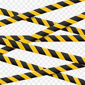 3d Caution lines isolated. Realistic warning tapes. Danger signs. Vector illustration isolated on checkered background