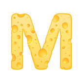 3d cheese letter M