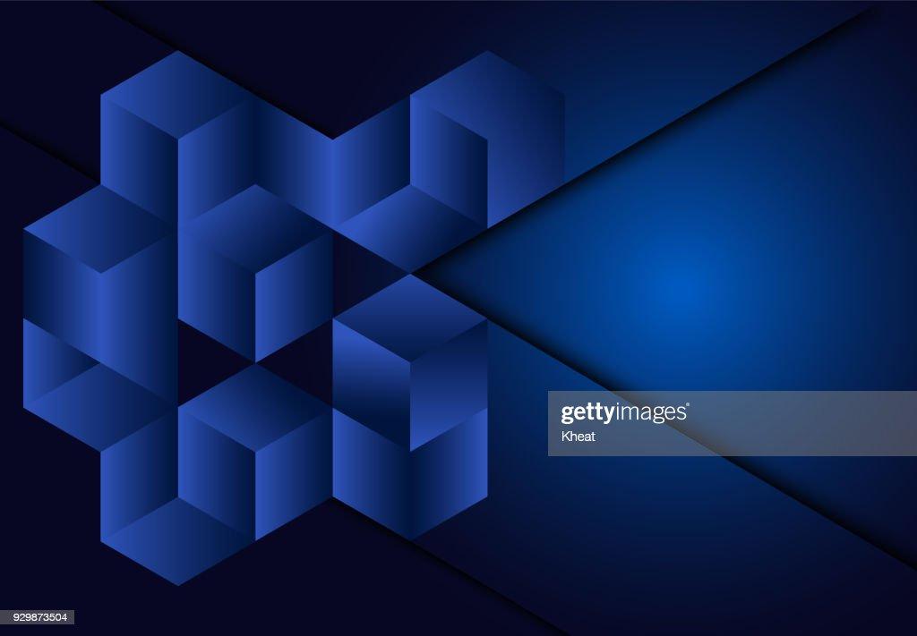 3d cube geometric Blue navy background