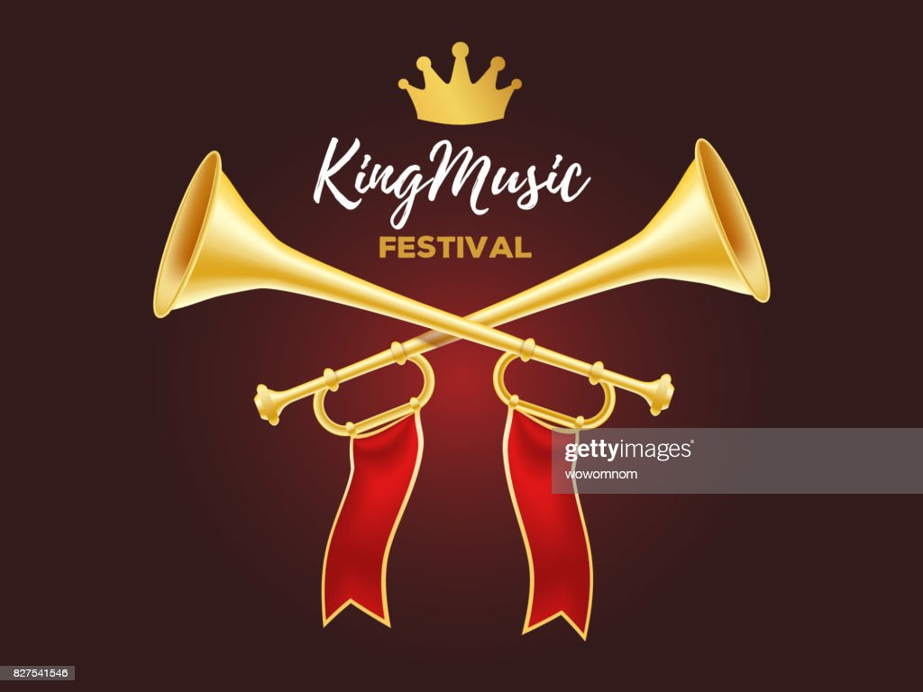 3d design of shiny golden metal horn. Realistic vector illustration of crossed trumpet with red ribbon, crown and text on dark background.