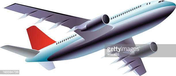 3d detailed illustration of a passenger plane