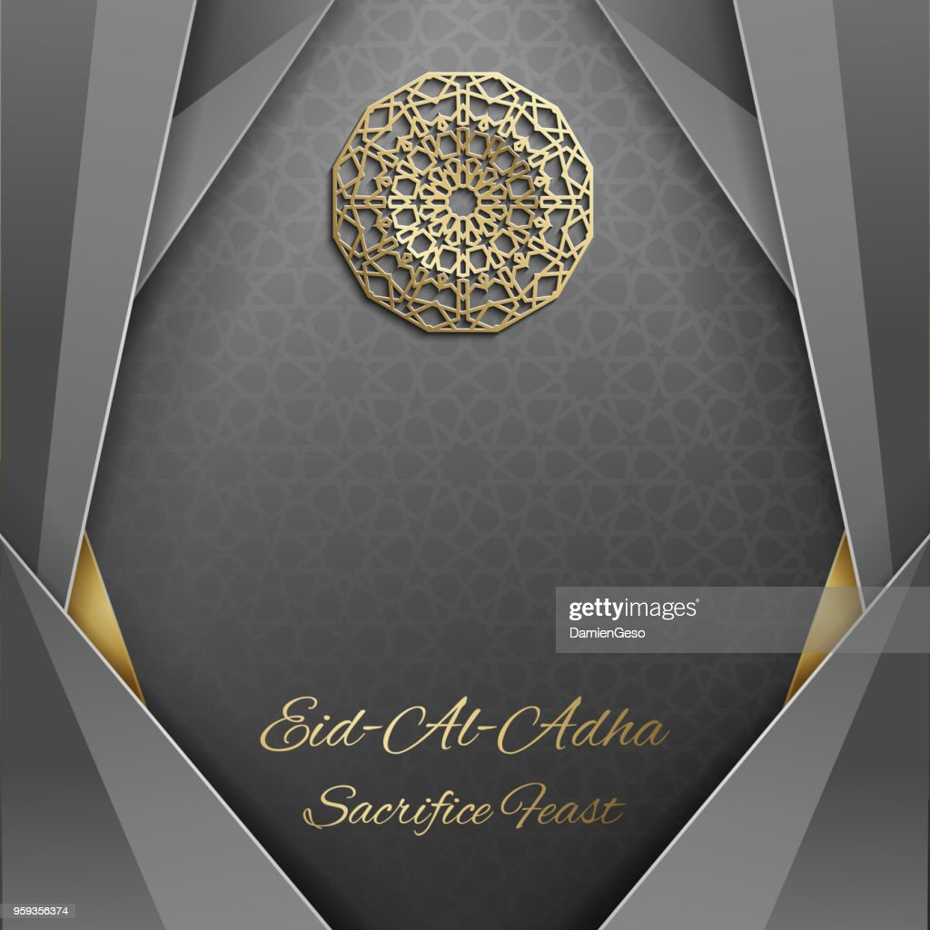 3d Eid al Adha greeting card,invitation islamic style.Arabic circle golden pattern.Gold ornament on black,islamic brochure