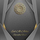 3d Eid al Adha greeting card,invitation islamic style.Arabic circle golden pattern.Gold ornament on black,islamic brochure