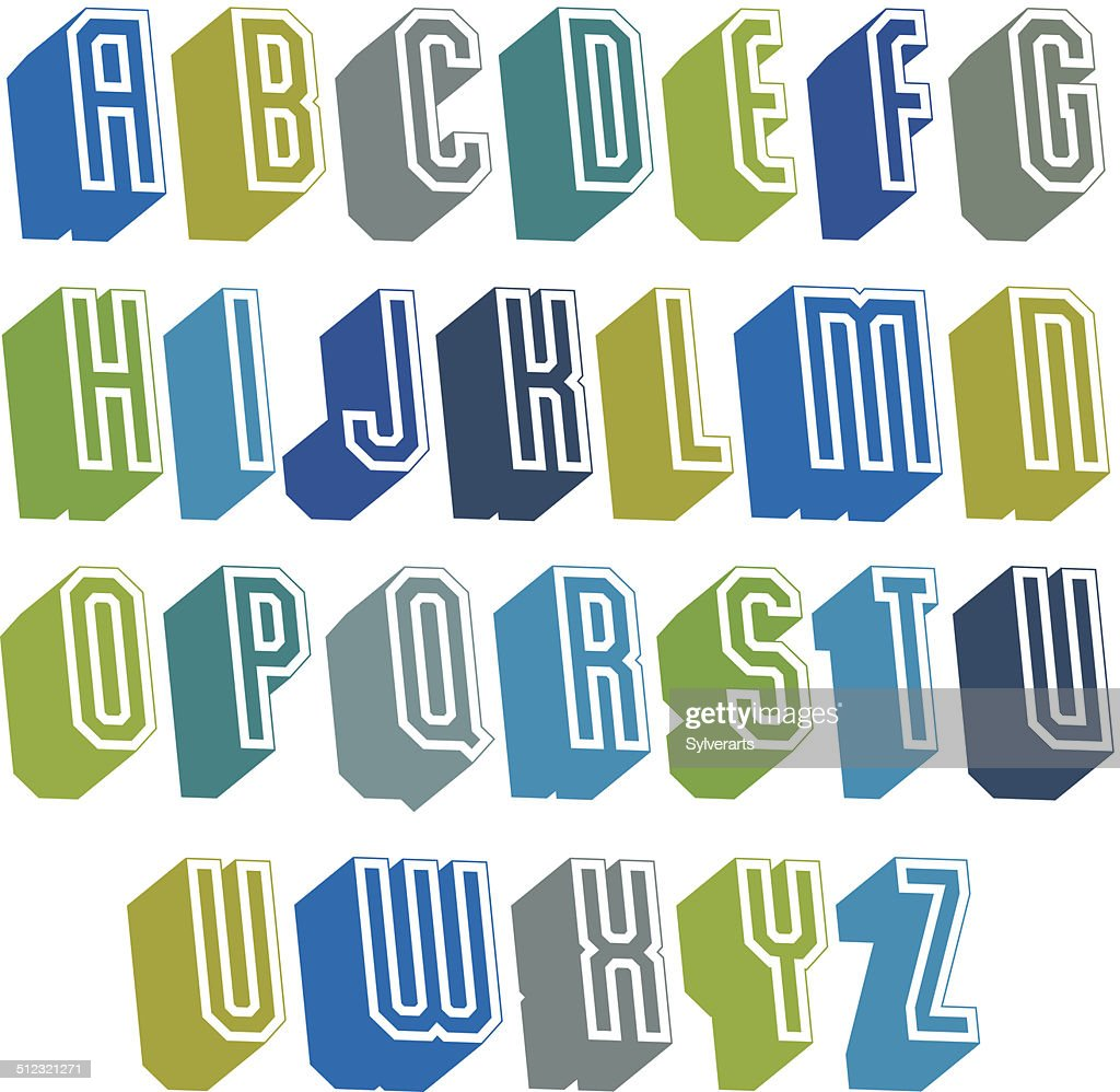 3d font with good style, simple geometric letters alphabet