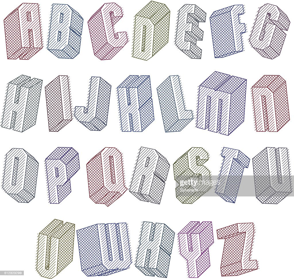 3d Font With Lines Textures Geometric Letters Alphabet Vector Art