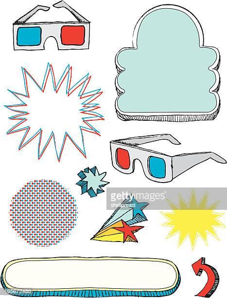 Óculos de 3D e design elementos