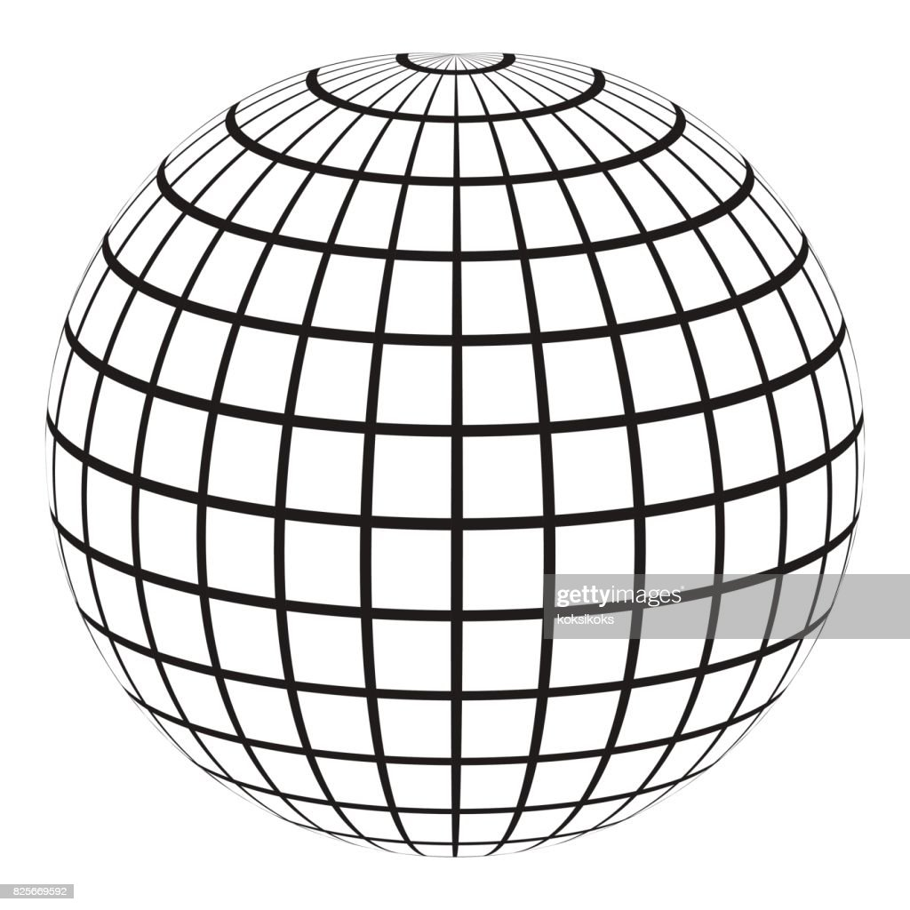 3d Globe With A Coordinate Grid Meridian And Parallel Vector Art ...