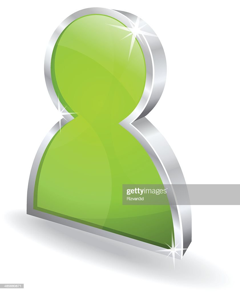 3d Glossy User Green Vector sign Icon