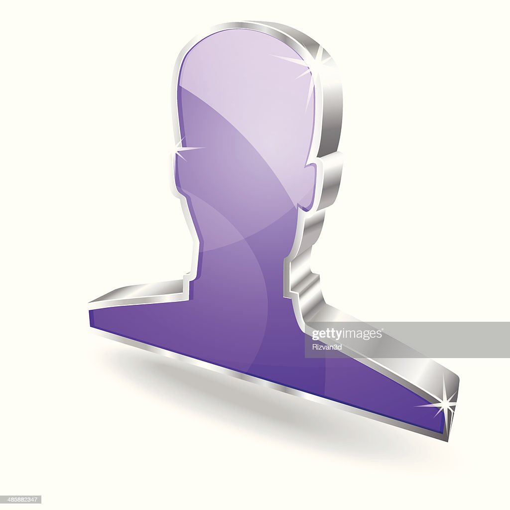 3d Glossy User Violet Vector sign Icon