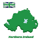 3d Green map outline and flag of Northern Ireland, green union flag
