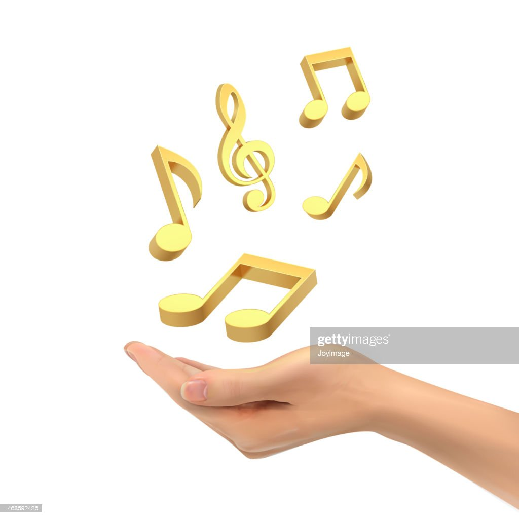 3d hand holding music notes