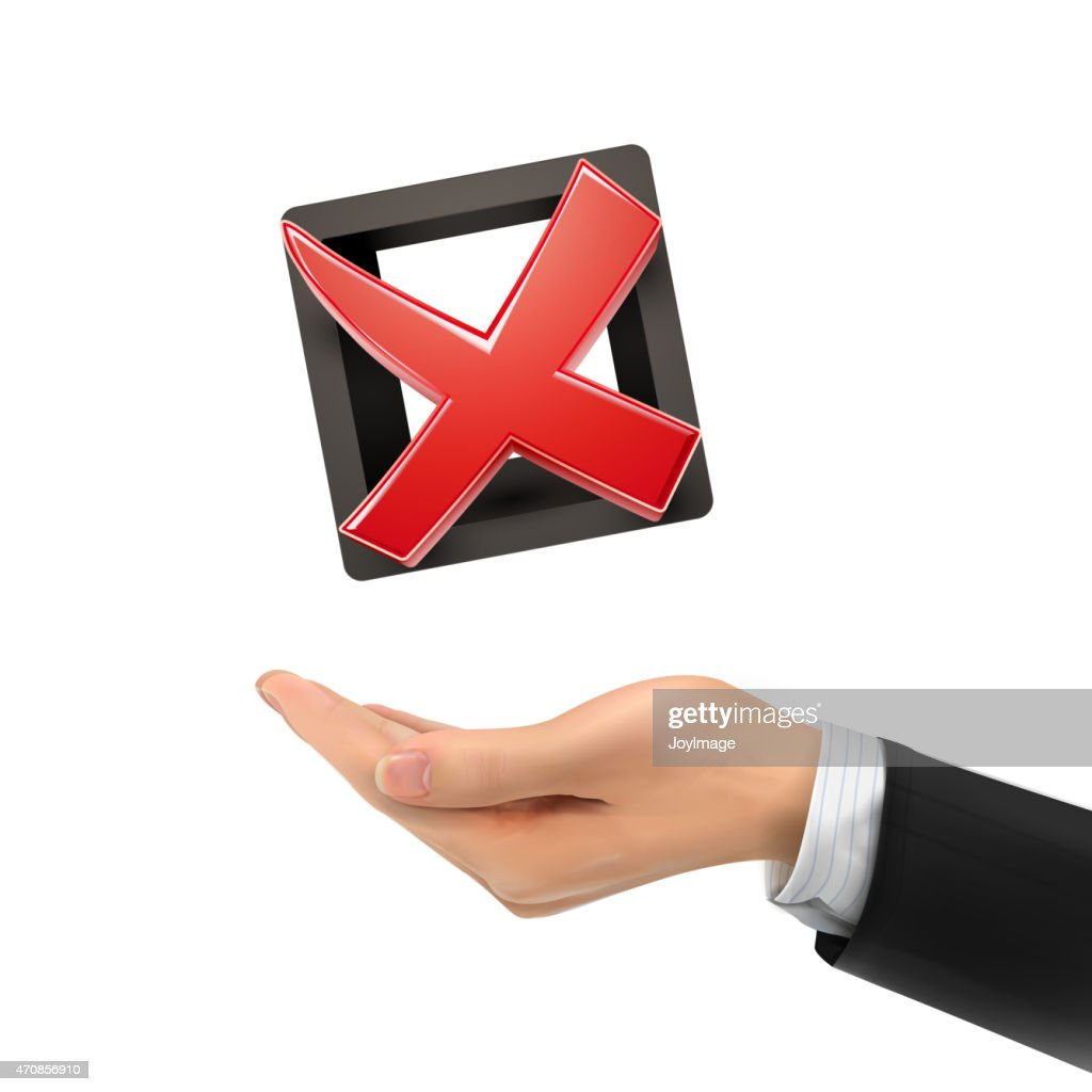 3d Hand Holding Red Cross Mark stock illustration - Getty Images