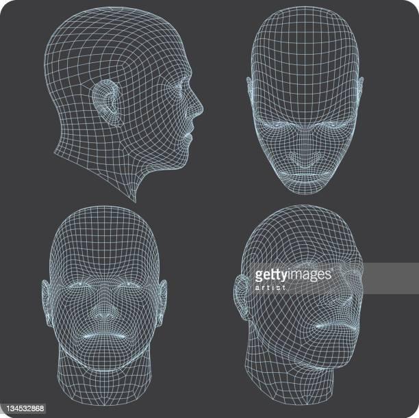 3d heads. - human head stock illustrations