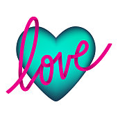 3d heart and Love lettering