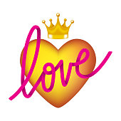 3d heart, crown and Love lettering