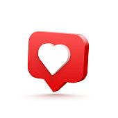 3d heart like social network. white background. Vector illustration