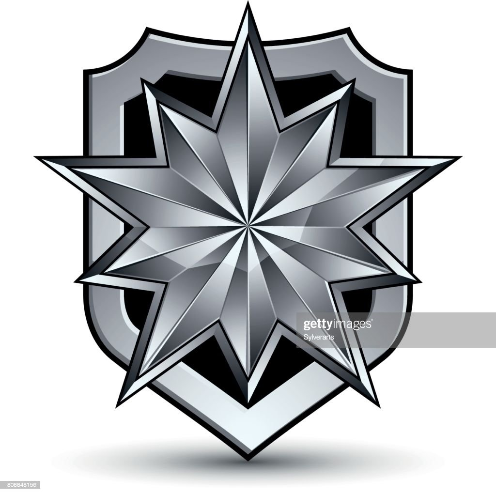 3d heraldic vector template with polygonal silver star, complicated dimensional royal geometric medallion isolated on white background.