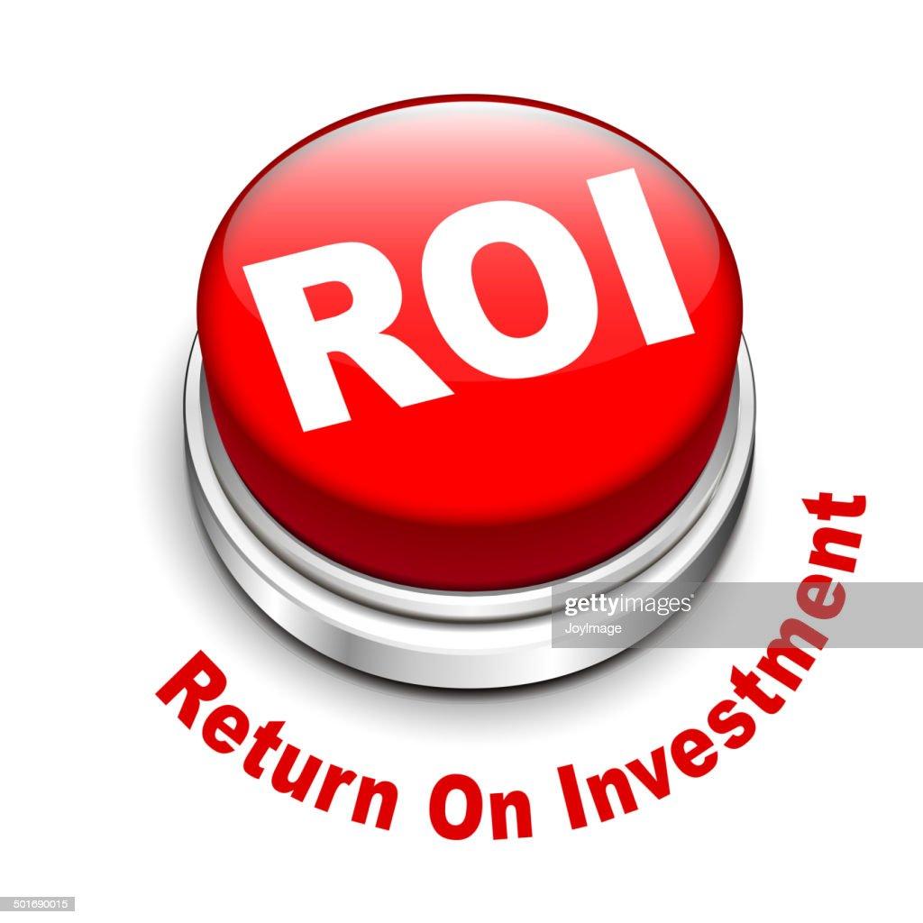 3d illustration of roi (return on investment) button