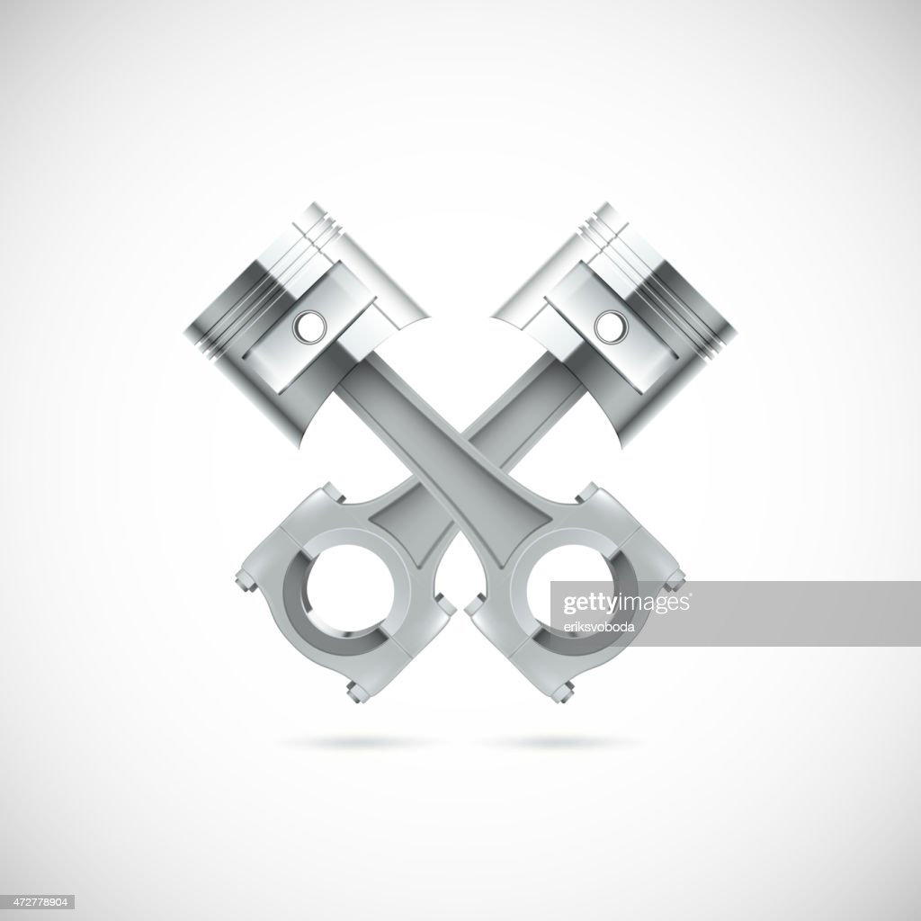 A 3d illustration of two piston with white background