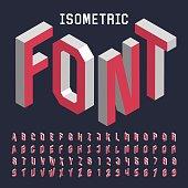 3d isometric alphabet vector font.