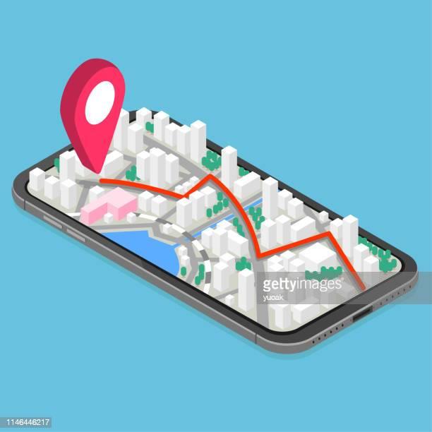 3d isometrisches mobiles gps-navigationskonzept - stadtplan stock-grafiken, -clipart, -cartoons und -symbole