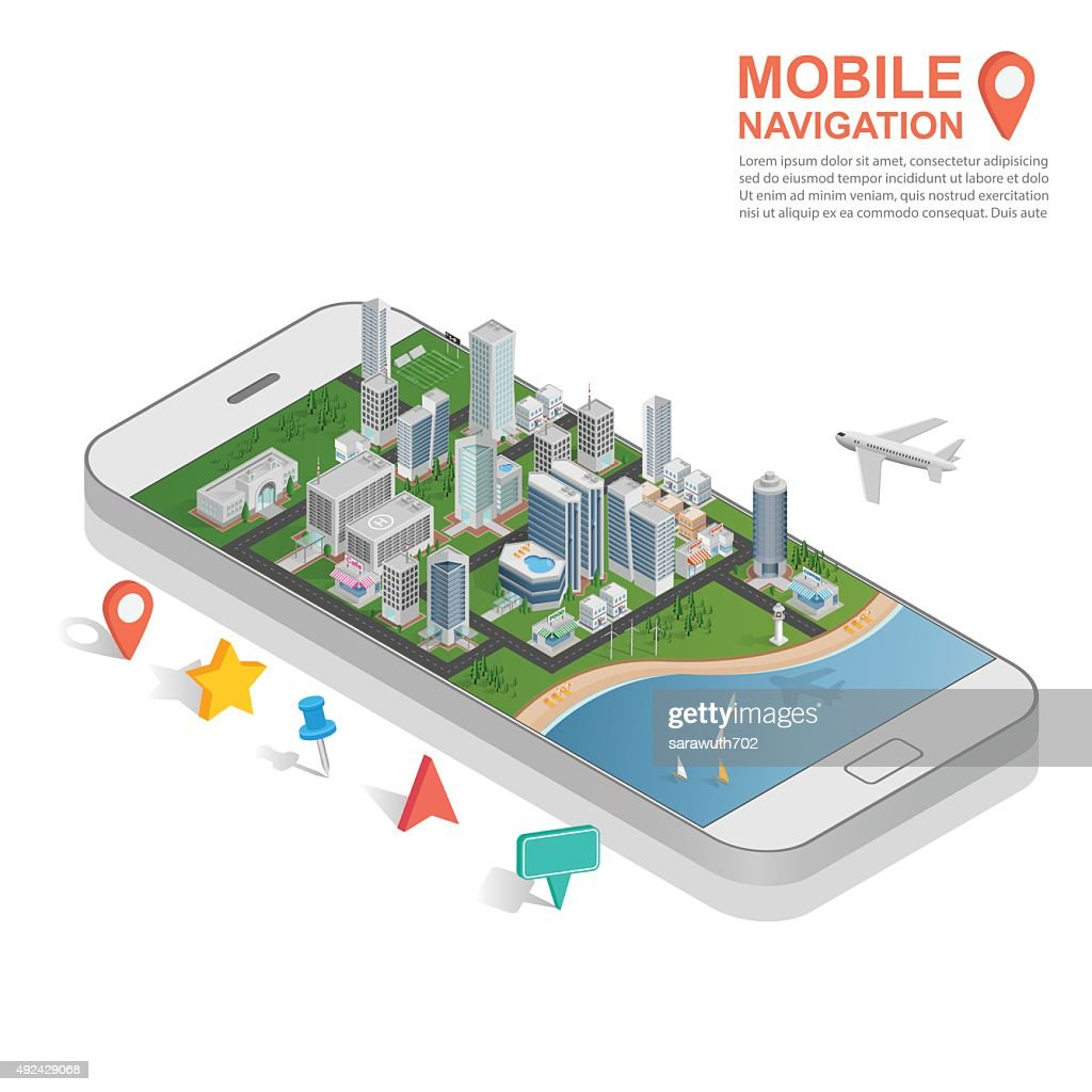 3d isometric mobile GPS navigation concept, vector