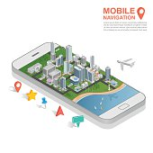 3d isometric mobile GPS navigation concept, vector
