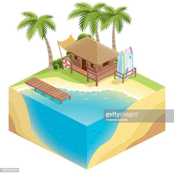 3d isometric nature beach - floating on water stock illustrations