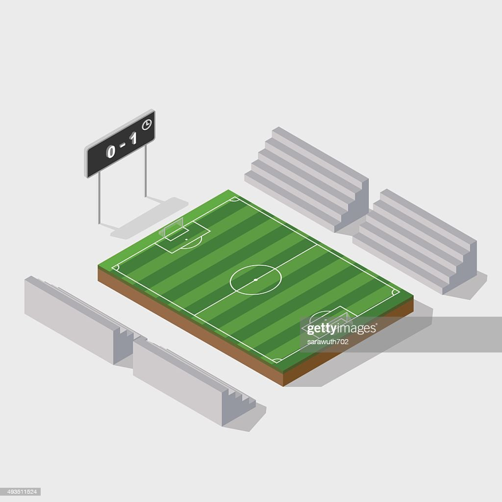 3d isometric soccer field with scoreboard,vector