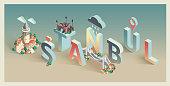 3d isometric typographic istanbul postcard