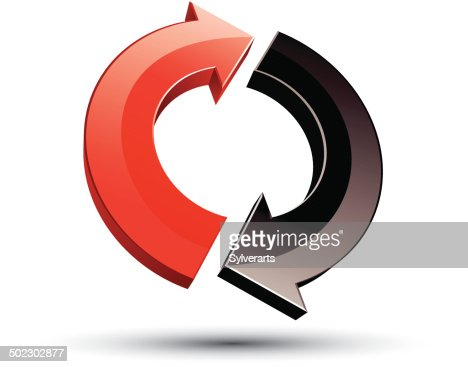 3d Loop 2 Arrows Abstract Icon Vector Art Getty Images