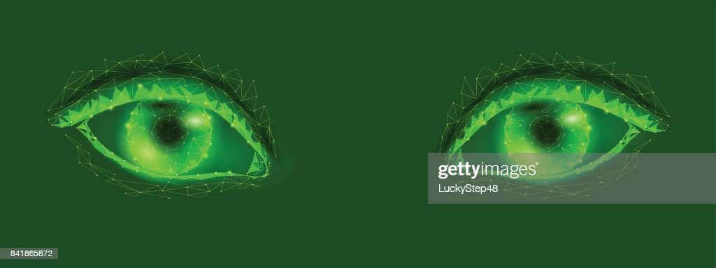 3d model of woman eye. Green glowing polygonal low poly logo triangle. Beautiful alien female sight close up vector illustration