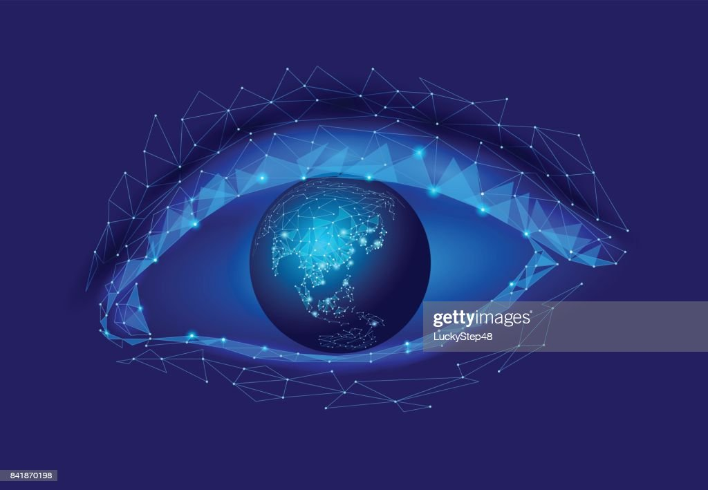 3d model of woman eye with planet Earth globe. Blue glowing polygonal low poly logo triangle. Ecology saving nature concept female sight close up vector illustration