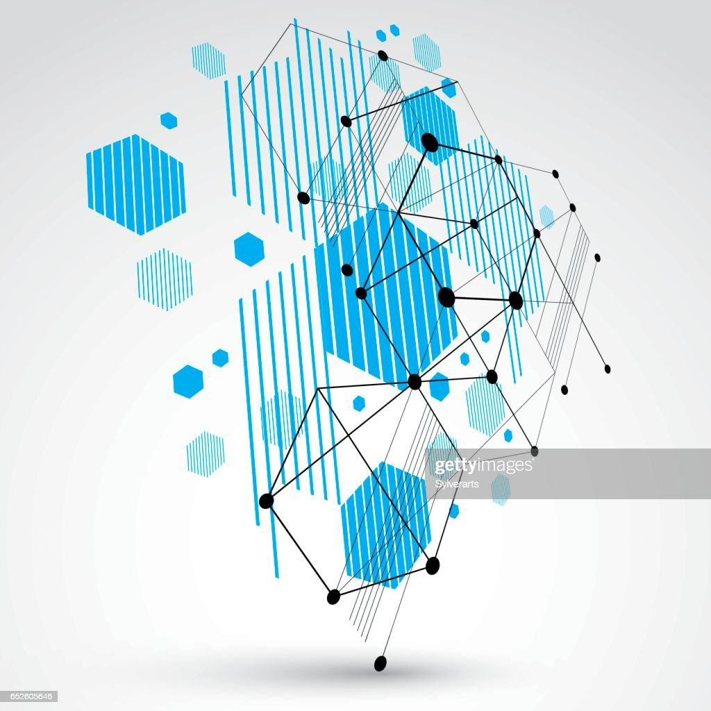 3d Modular Blue Vector Wallpaper Made Using Hexagons And Circles Retro Style Pattern Perspective Graphic Backdrop For Use As Booklet Cover Template