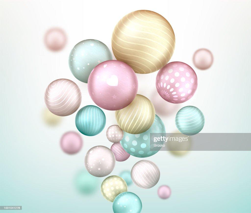 3d multicolored decorative balls flying randomly. Beautiful three-dimensional spheres in pastel colors.
