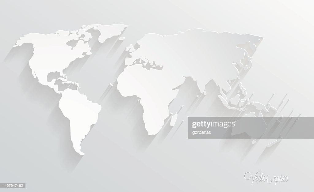 3d paper design world map illustration
