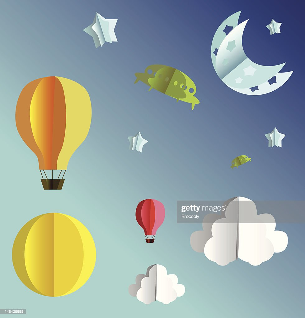 3d paper sky flying objects set