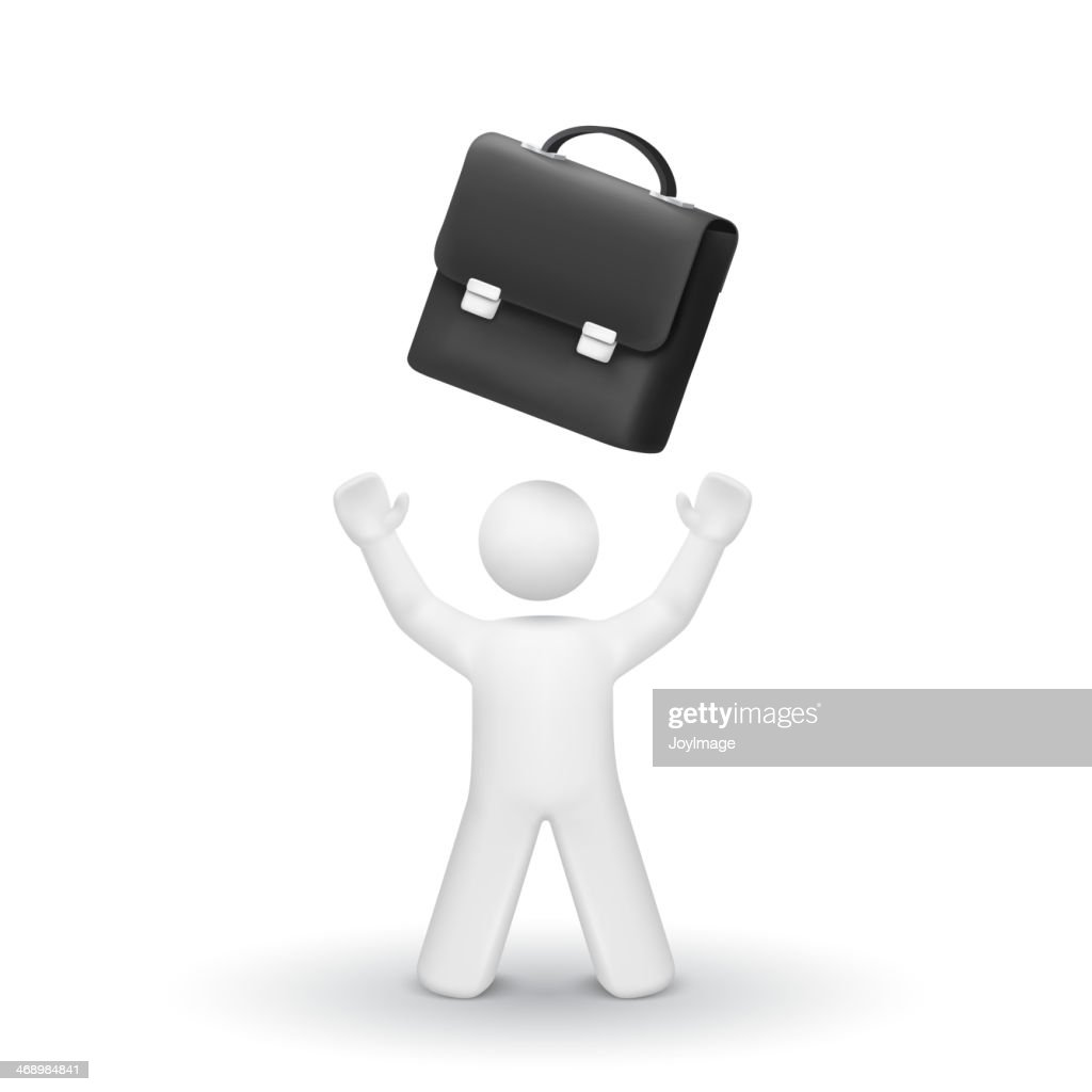 3d person looking up at a briefcase