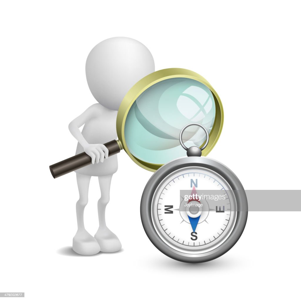 3d person watching a compass with a magnifying glass