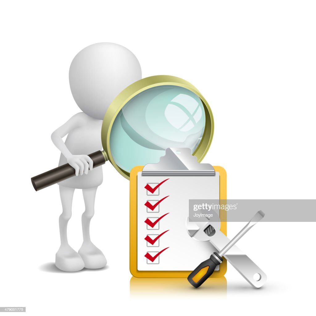 3d person watching checklist and tools with a magnifying glass