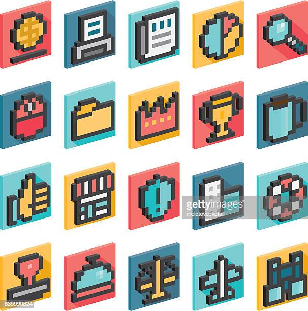 3d pixel business icons - pixellated stock illustrations, clip art, cartoons, & icons